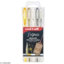 Assortiment de stylos gel Uni-Ball Signo - Métallisés, pailletés et blanc - 5 pcs
