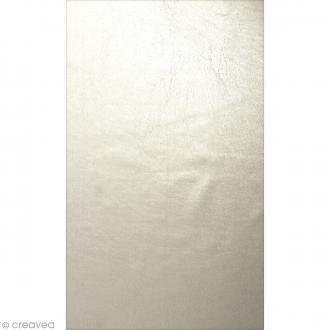 Coupon simili cuir Métallisé Blanc ivoire - 50 x 30 cm