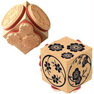 Tampon cube Fleurs de Sakura x 3 motifs