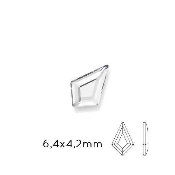 2771 Swarovski Flat Back Kite Rhinestones Crystal 6.4X4.2Mm (10) - Photo n°1