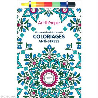 Kit carnet nomade coloriage adulte anti-stress - 15 x 23,5 cm - 120 coloriages