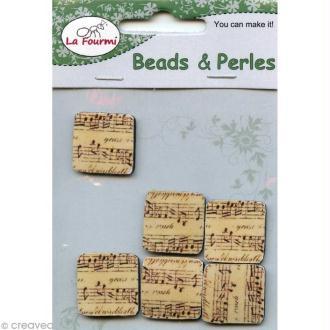 Cabochon en bois 2 cm - Notes de musique - 6 pcs