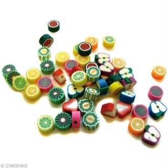 Perles fruits en pâte polymère 1 cm - Assortiment 50 pcs