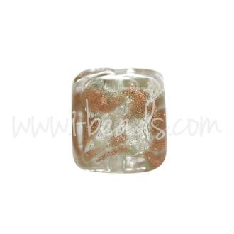 Perle De Murano Cube Or Et Argent 6Mm (1)