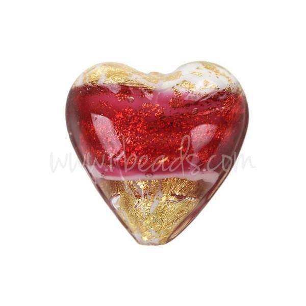 Perle De Murano Coeur Rose Et Or 20Mm (1) - Photo n°1
