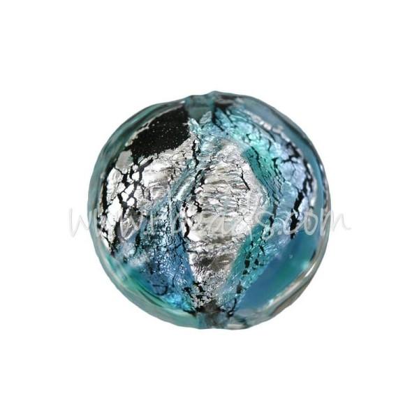 Perle De Murano Bombée Bleu Et Argent 14Mm (1) - Photo n°1