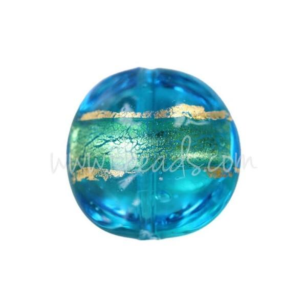 Perle De Murano Bombée Bleu Et Or 14Mm (1) - Photo n°1