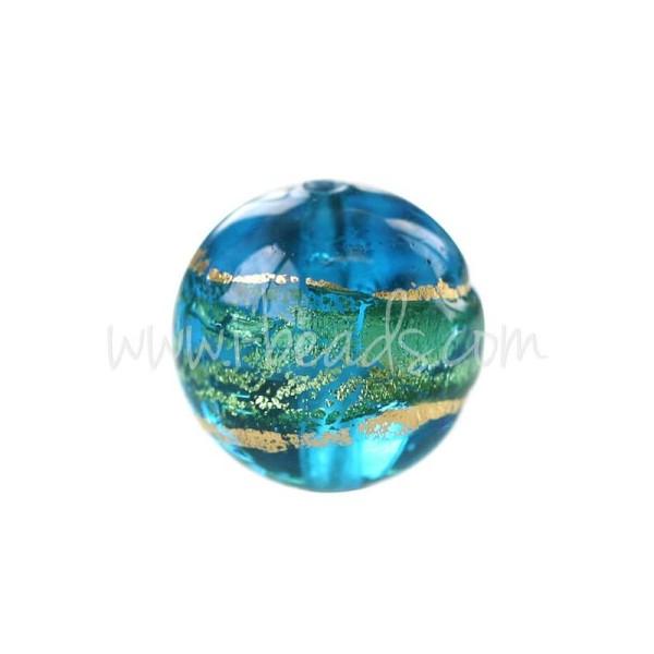 Perle De Murano Ronde Bleu Et Or 10Mm (1) - Photo n°1