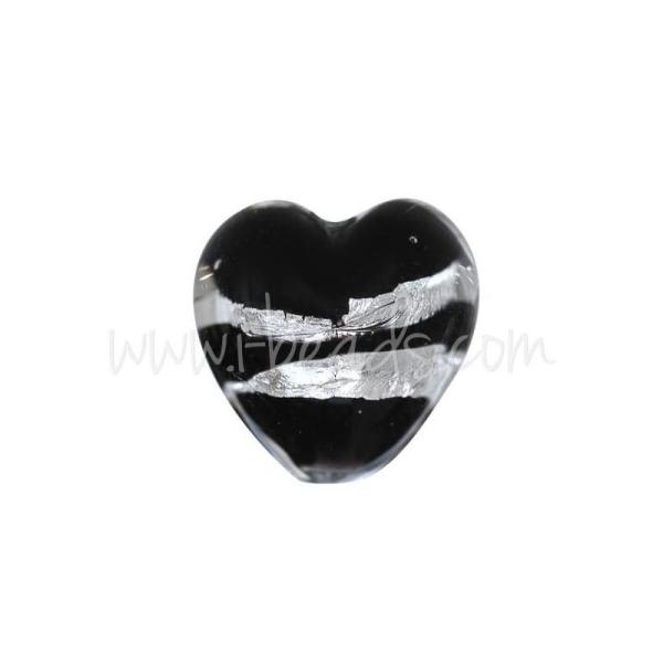 Perle De Murano Coeur Noir Et Argent 10Mm (1) - Photo n°1