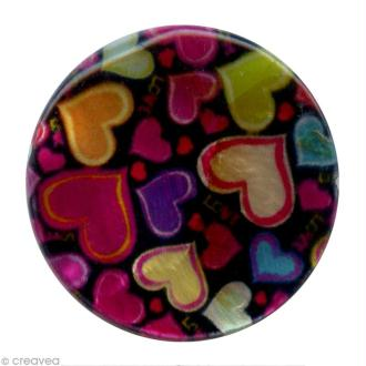 Perles rondes nacrées 15 mm - Coeurs sur fond noir - 12 pcs