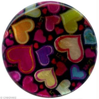 Perles rondes nacrées 25 mm - Coeurs sur fond noir - 8 pcs