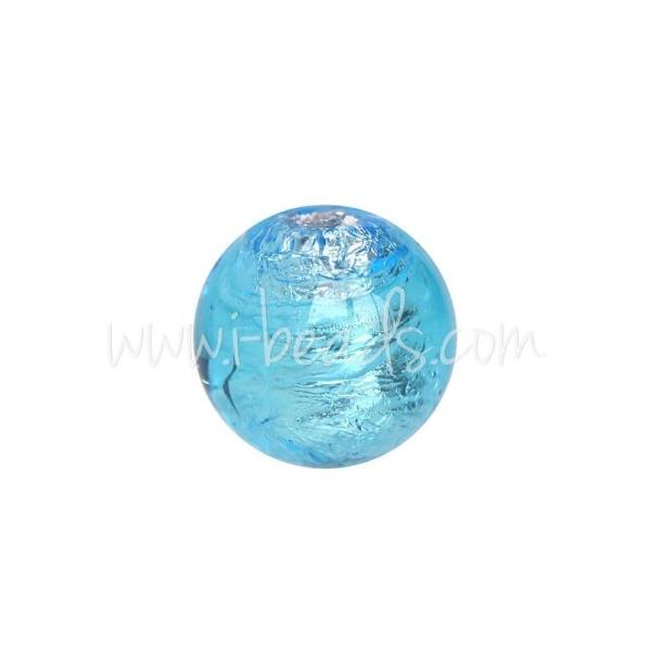 Perle De Murano Ronde Aquamarine Et Argent 8Mm (1) - Photo n°1