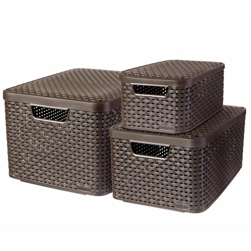 curver panier de rangement style avec couvercle 3 pcs 08509 210 00 bo te de rangement. Black Bedroom Furniture Sets. Home Design Ideas