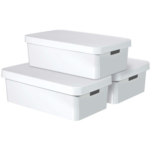 Curver Boîte De Rangement Infinity Et Couvercle 3pcs 30 L Blanc 240671 - Boîte de rangement ...