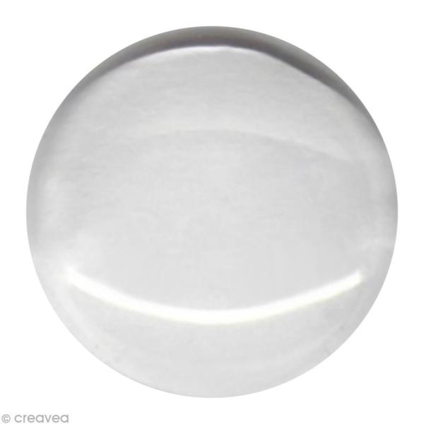 Cabochon transparent Rond en verre à l'unité - 24 mm - Photo n°1