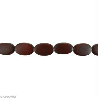 Perles plates en bois Bordeaux - 17 x 13 mm - 25 pcs