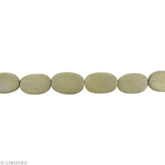 Perles plates en bois Gris perle - 17 x 13 mm - 25 pcs
