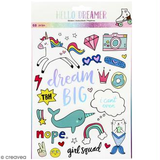 Stickers Hello Dreamer - détail foil - 68 pcs