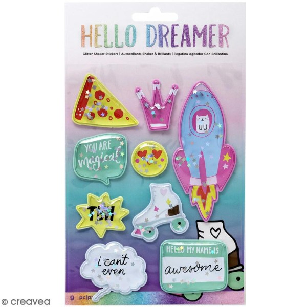 Stickers 3D Shaker box Hello Dreamer - 9 pcs - Photo n°1