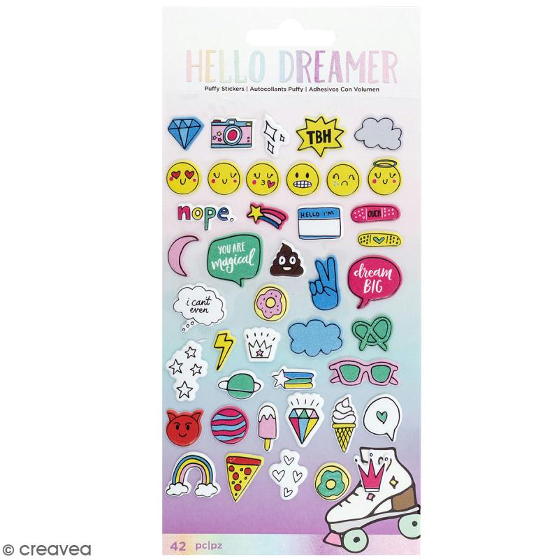 Stickers puffies Hello Dreamer - 42 pcs - Photo n°1