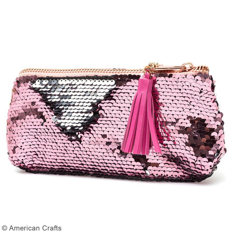 Trousse à sequins réversibles - rose et argenté - 18,5 x 10 cm - Photo n°2