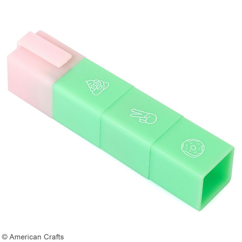 Stick mini-tampons encreurs emoji - peace, donut, poop - 3 pcs - Photo n°2