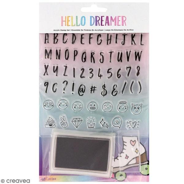 Kit de tampons Planner Hello Dreamer - Alphabet et emojis - 61 pcs - Photo n°1
