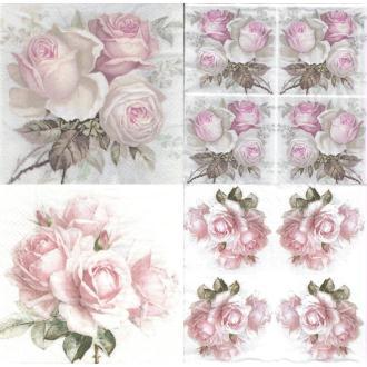 4 Serviettes en papier différentes Roses Vintage Format Lunch