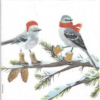 4 Serviettes en papier Oiseaux Bonnet de Noël Format Lunch
