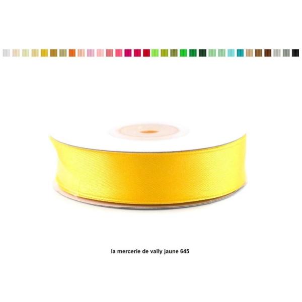 Ruban satin 18 mm de large par bobine de 25m jaune 645 - Photo n°1