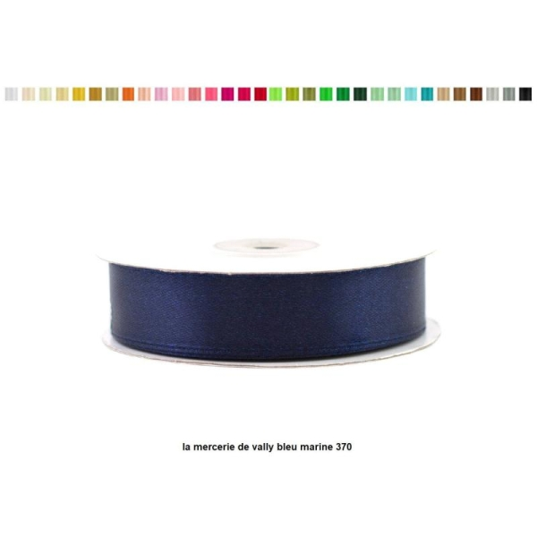 Ruban satin 18 mm de large par bobine de 25m bleu marine - Photo n°1