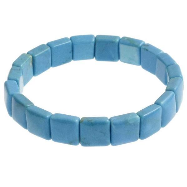 Bracelet perles carrées en howlite teintée bleu - Photo n°1
