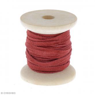 Cordon daim 4 mm plat Rouge - 3 mètres