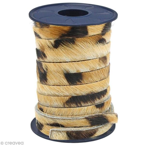 Cordon cuir 5 mm plat avec poils Brun pois léopard - Au mètre (sur mesure) - Photo n°1