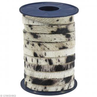 Cordon cuir 5 mm plat avec poils Beige tâches - Au mètre (sur mesure)
