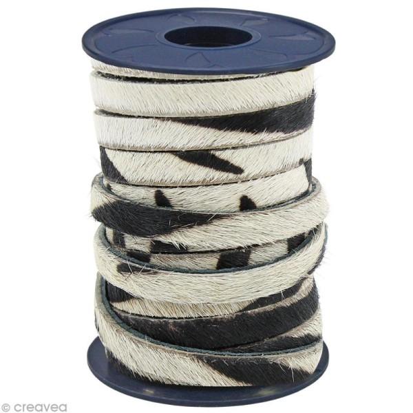 Cordon cuir 5 mm plat avec poils Beige zèbre - Au mètre (sur mesure) - Photo n°1