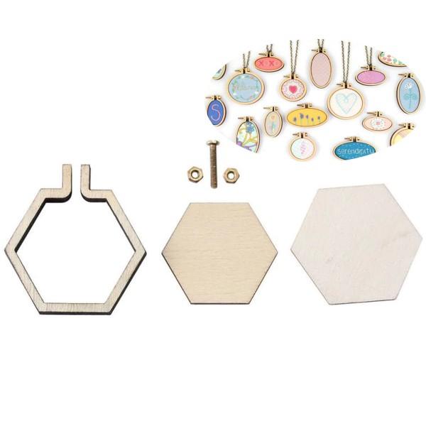 En Bois naturel Mini Broderie de Bijoux Minuscules Cerceaux Hexagone Pendentifs Frame Set Anneau de - Photo n°1