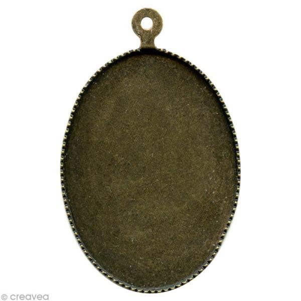 Support pendentif plateau ovale pour cabochon 22 x 30 mm - bronze - Photo n°1
