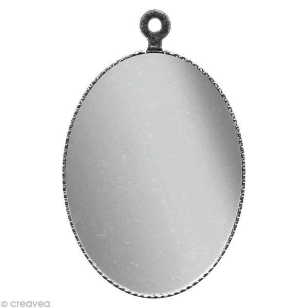 Support pendentif plateau ovale pour cabochon 22 x 30 mm - Argenté - Photo n°1