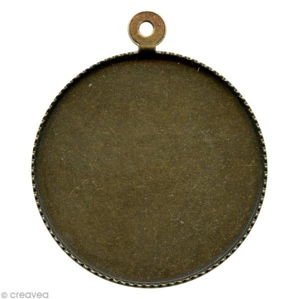 Support pendentif plateau rond pour cabochon 24 mm - bronze - Photo n°1