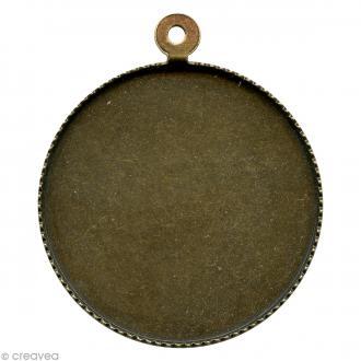 Support pendentif plateau rond pour cabochon 24 mm - bronze
