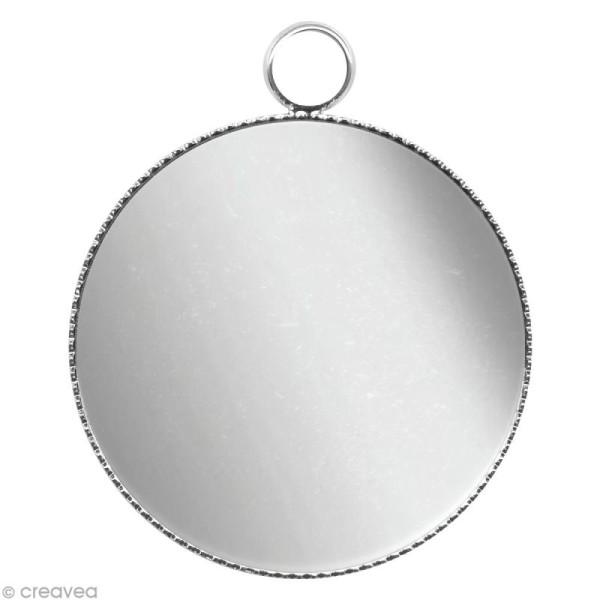 Support pendentif plateau rond pour cabochon 24 mm - Argenté - Photo n°1