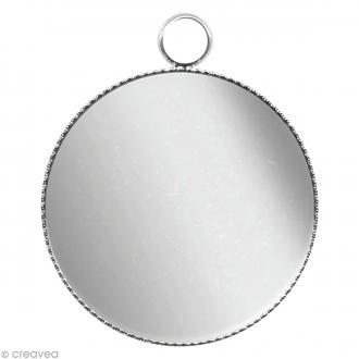 Support pendentif plateau rond pour cabochon 24 mm - Argenté