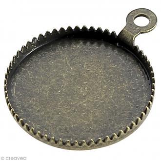 Support pendentif plateau rond pour cabochon 16 mm - bronze