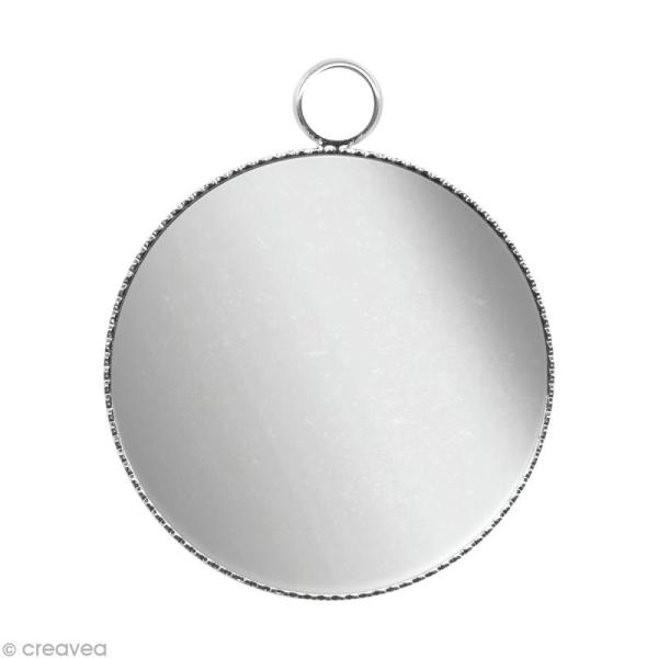 Support pendentif plateau rond pour cabochon 16 mm - Argenté - Photo n°1