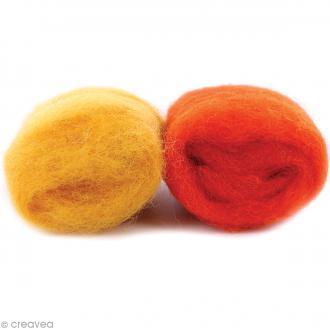 Mini pelotes laine cardée - Jaune et orange - 10 g - 2 pcs