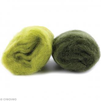 Mini pelotes laine cardée - Vert kiwi et vert olive - 10 g - 2 pcs