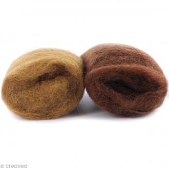 Mini pelotes laine cardée - Marron noisette et marron - 10 g - 2 pcs