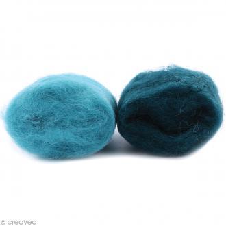 Mini pelotes laine cardée - Bleu turquoise et turquoise foncé - 10 g - 2 pcs