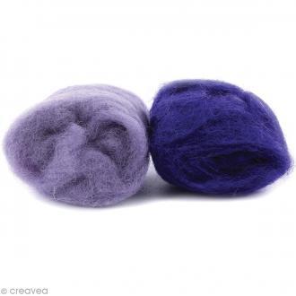 Mini pelotes laine cardée - Lilas et mauve - 10 g - 2 pcs